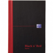 Oxford Black n' Red A5 Feint Ruled Matt Casebound Hardback Notebook
